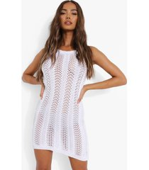 gehaakte mini jurk met halter neck, white
