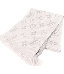 louis vuitton logomania wool scarf gray, light gray sz: