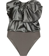 alexandre vauthier bodysuit bow top - grey