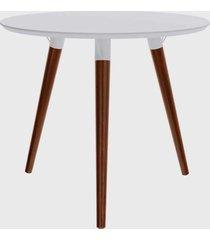 mesa redonda valentinna branco/pé escuro retrô artesano