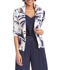 women's nic+zoe botanical leaf jacket, size x-large - white