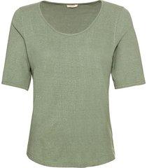 shirt met korte mouwen van bourette zijdenjersey, steengroen 40/42