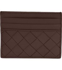 bottega veneta intrecciato leather card case - brown