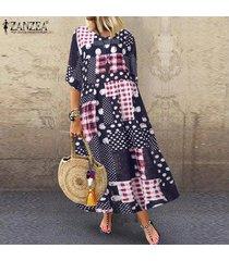 zanzea plus s-5xl de las mujeres medio de la manga largo de la vendimia camisa de vestir de lunares compruebe vestido a media pierna -azul marino