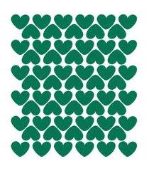 adesivo de parede infantil corações verde escuro 55un