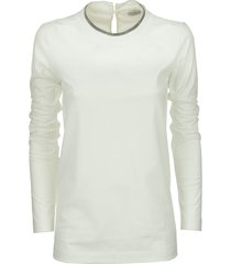 brunello cucinelli stretch cotton jersey t-shirt with monile