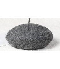 lana color sólido sombrero damas otoño invierno lana sombrero lindo