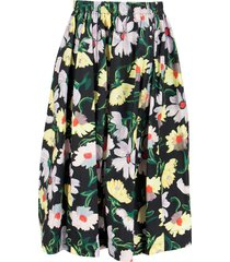 marni magnolia print cotton poplin skirt