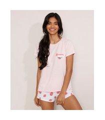 pijama morangos manga curta rosa