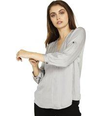 blusa manga ajustable gris nicopoly
