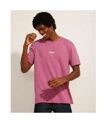 """camiseta de algodão chicago"""" manga curta decote redondo roxa"""""""