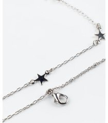 adela layered star station necklace - silver