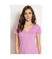 camiseta aleatory feminina gola v básica mescla