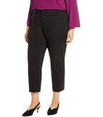 vince camuto tech ponte skinny ankle pants, size 20w in rich black at nordstrom
