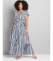 lane bryant women's multi-way off-the-shoulder poplin maxi dress 14/16p stripe