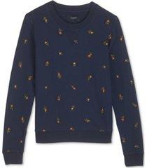 lucky brand cotton embroidered sweatshirt