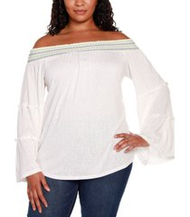 belldini black label plus size embroidered flare sleeve off the shoulder top