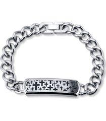 he rocks cross llink bracelet in stainless steel