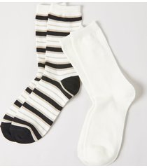 lane bryant women's crew socks 2-pack - striped & solid onesz black