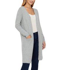 vero moda doffy open front long cardigan, size large in light grey melange at nordstrom