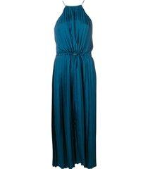 tibi mendini twill pleated dress - blue