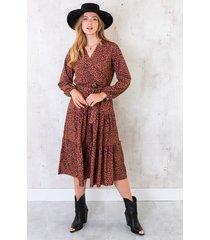 lange cheetah jurk cognac