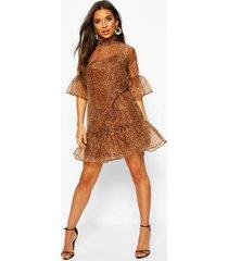 leopard print organza mesh shift dress, brown