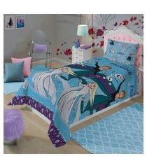 jogo de cama solteiro lepper frozen 2 peças azul