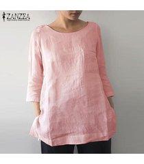 blusa casual con cuello redondo para mujer-rosado