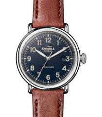 men's shinola runwell automatic leather strap watch, 45mm