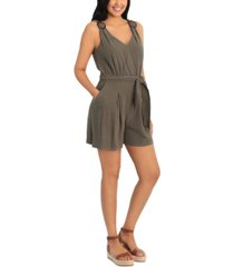 london times petite belted romper