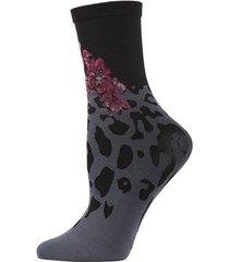 natori leopard fusion crew socks, women's, black natori
