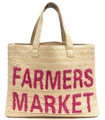 btb los angeles farmers market straw tote - beige