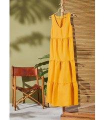 abito lungo in misto lino (arancione) - bodyflirt