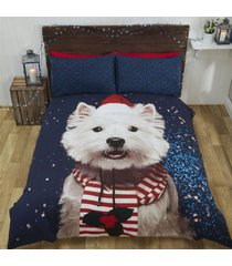 christmas west highland terrier dog hat scarf blue white king size duvet cover