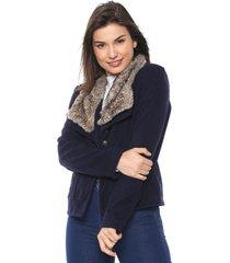 casaco queens paris bolsos azul-marinho - kanui