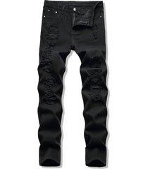dark wash zipper fly destroyed jeans