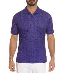 robert graham men's credit score printed polo shirt - purple - size xl