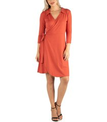 24seven comfort apparel women's knee length collared wrap dress