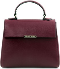 tuscany leather tl141628 tl bag - bauletto piccolo in pelle saffiano bordeaux