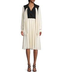 sachin & babi women's daphne colorblock scarf dress - ivory black - size 14