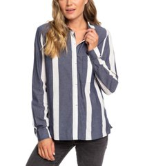 roxy juniors' mess is mine cotton striped shirt
