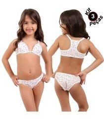 kit 3 unidades conjunto menina moça ponto certo lingerie com bojo nadador variadas gg
