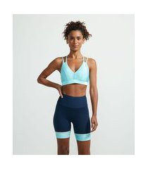 top esportivo em poliamida brilhoso com bojo | get over | tanager turquoise | p