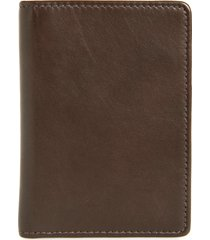 men's nordstrom liam leather folding card case - brown
