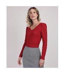 blusa feminina canelada decote redondo manga longa bufante vinho