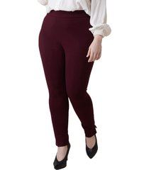 plus size women's maree pour toi skinny compression knit pants, size 24w - burgundy