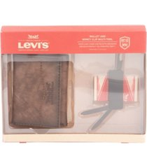 levi's men's rfid bifold wallet with deluxe multi tool