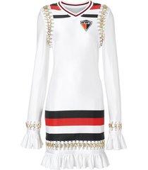 burberry ring-pierced striped stretch jersey mini dress - white