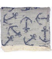 "anchor tri-weave matelasse cotton throw blanket, 70"" x 50"""